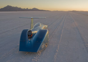 BWS streamliner on Bonneville Salt Flats starting line